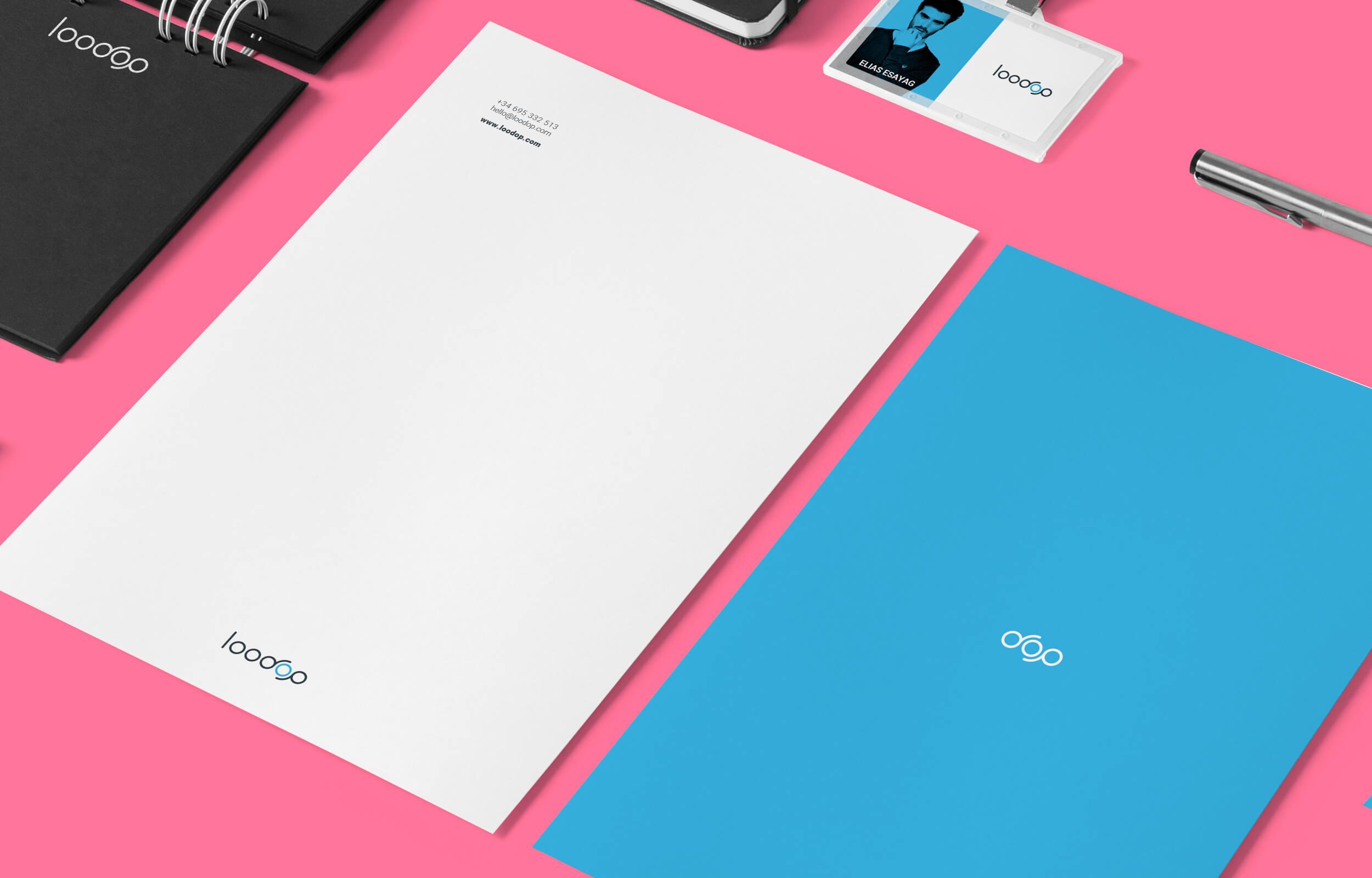 Detalle de la papelería y piezas de comunicación para Loodop.