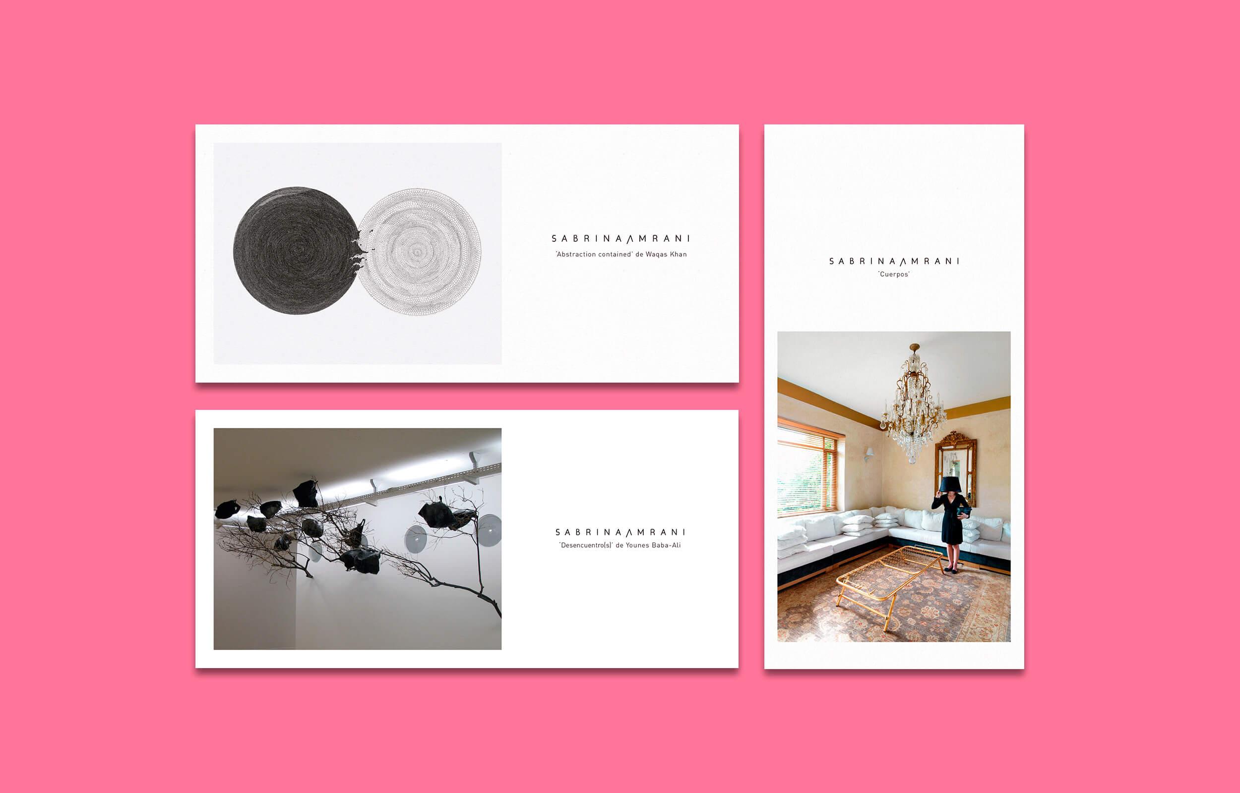 Piezas de comunicación para diversas exposiciones en la Galería Sabrina Amrani