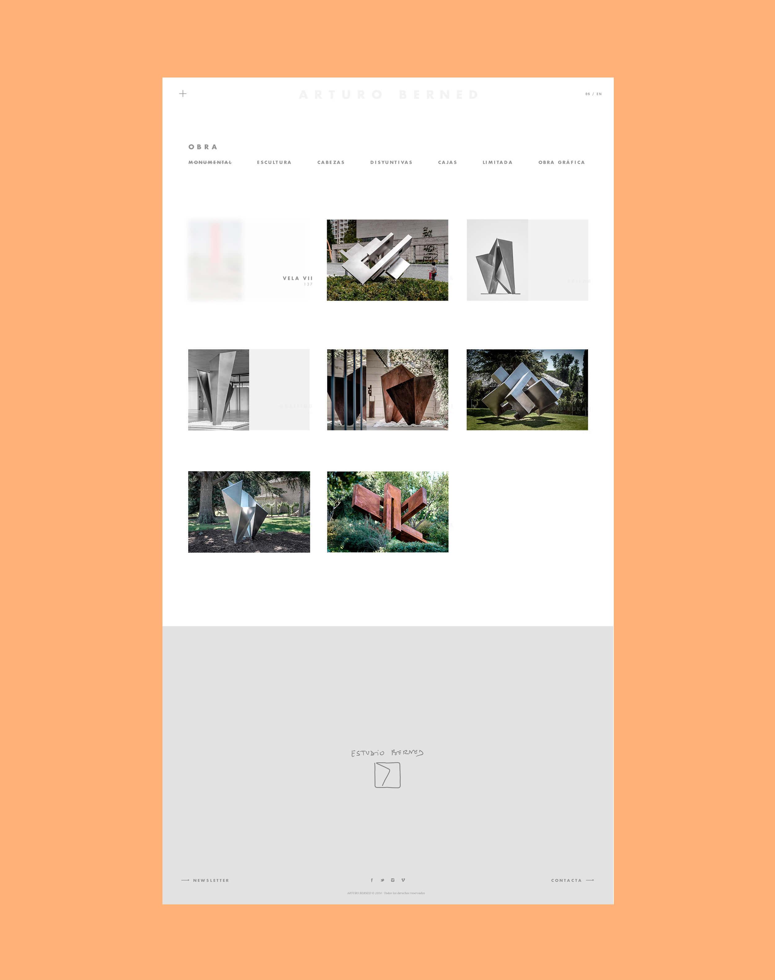 Diseño y desarrollo de la web para el prestigioso escultor madrileño Arturo Berned