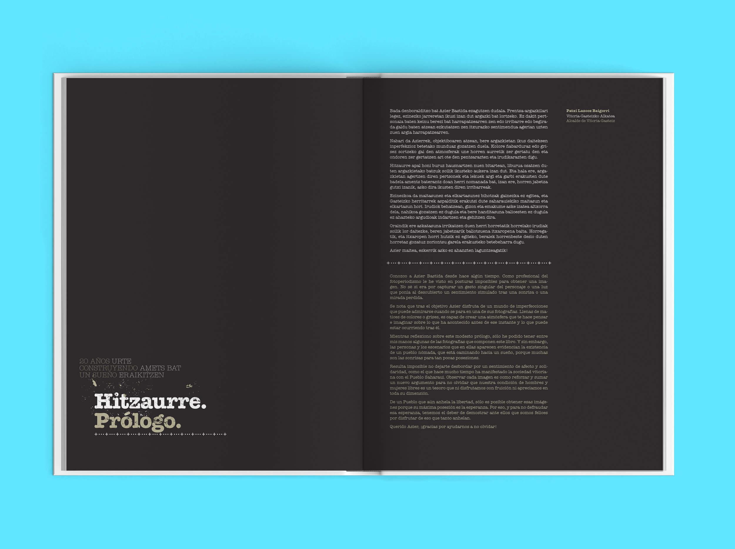 Páginas interiores del libro para el fotógrafo Asier Bastida. 20 años construyendo un sueño
