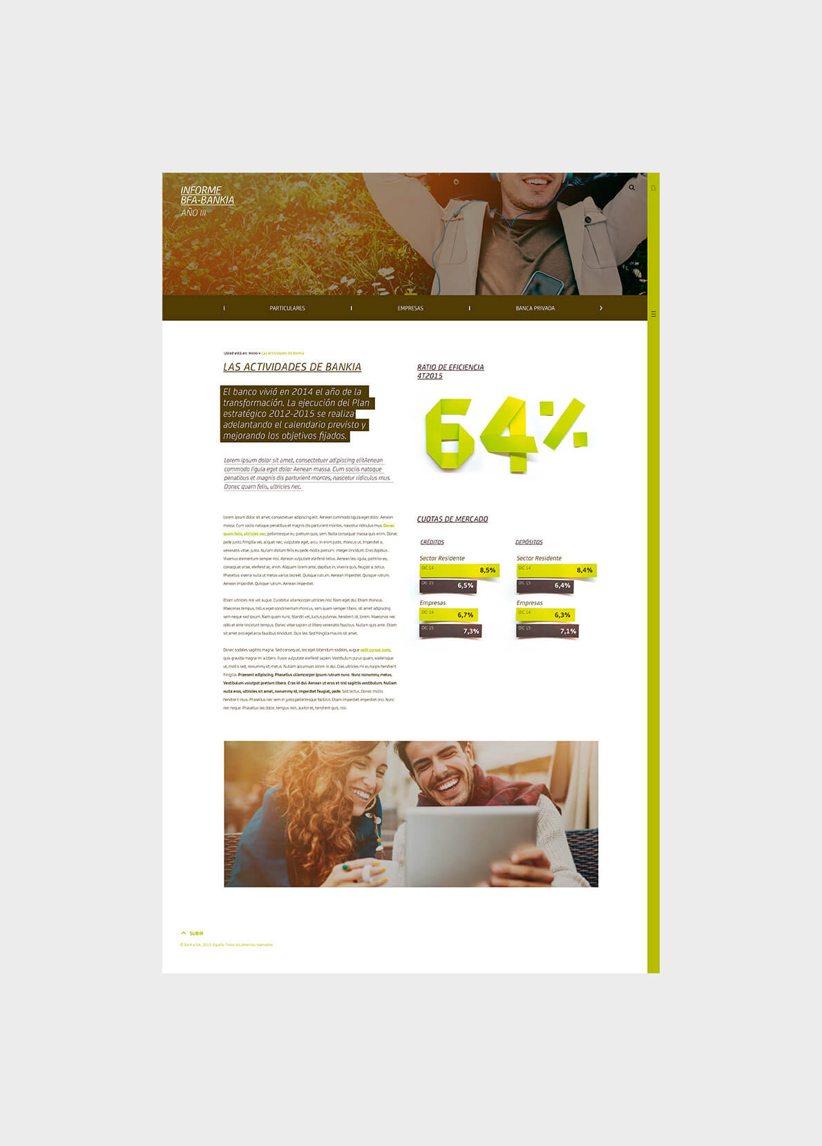 Propuesta de website responsive que tiene como objetivo trasladar el informe económico anual de Bankia del formato en papel al formato digital