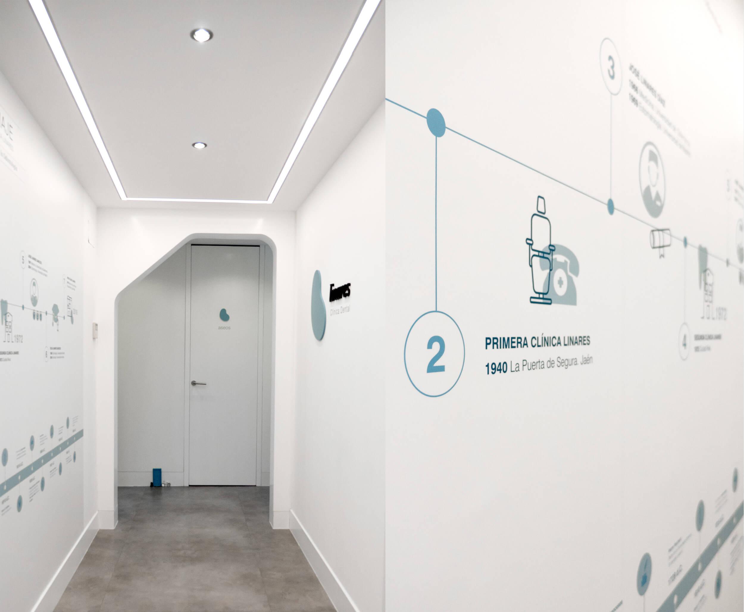 Señalética y muro gráfico de la recepción de la Clínica Linares