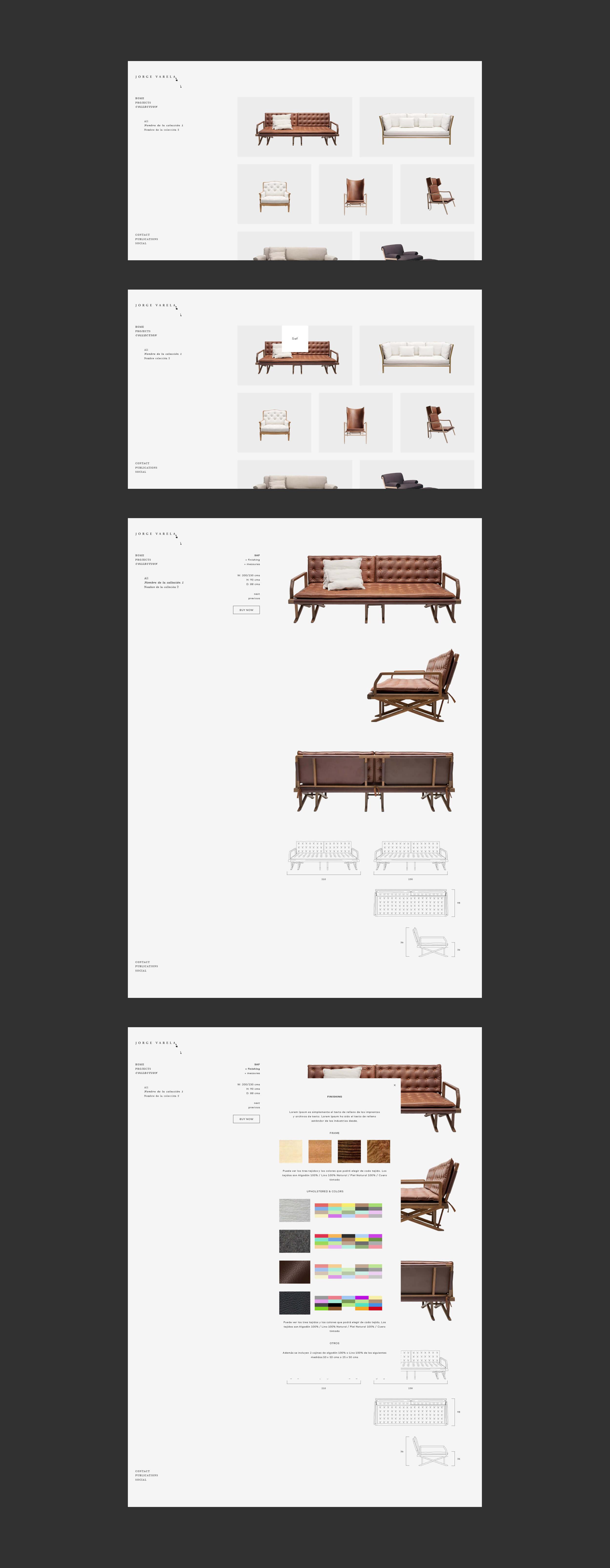 Secciones interiores de la web de Jorge Varela
