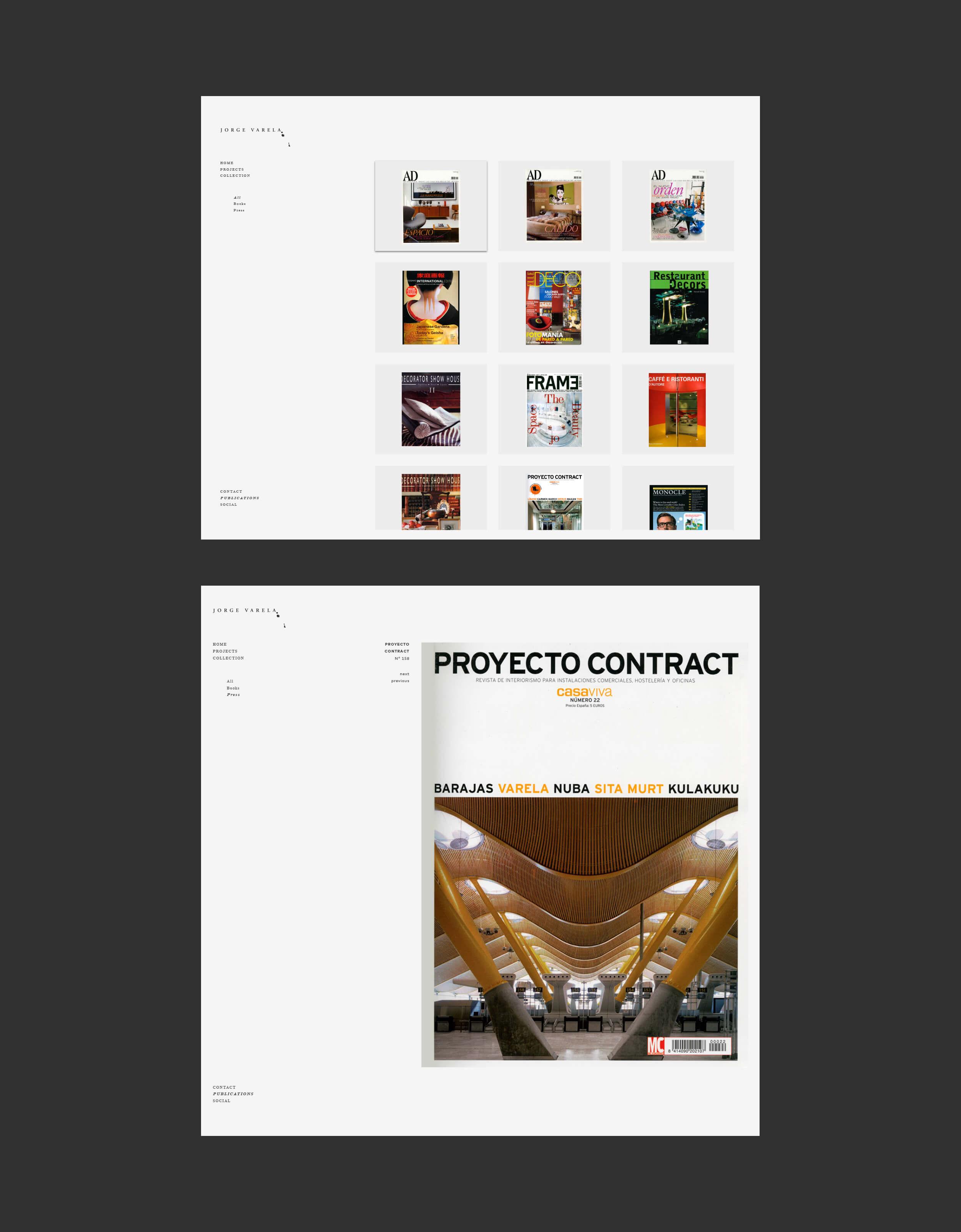 Sección publicaciones de la web del diseñador de interiores Jorge Varela