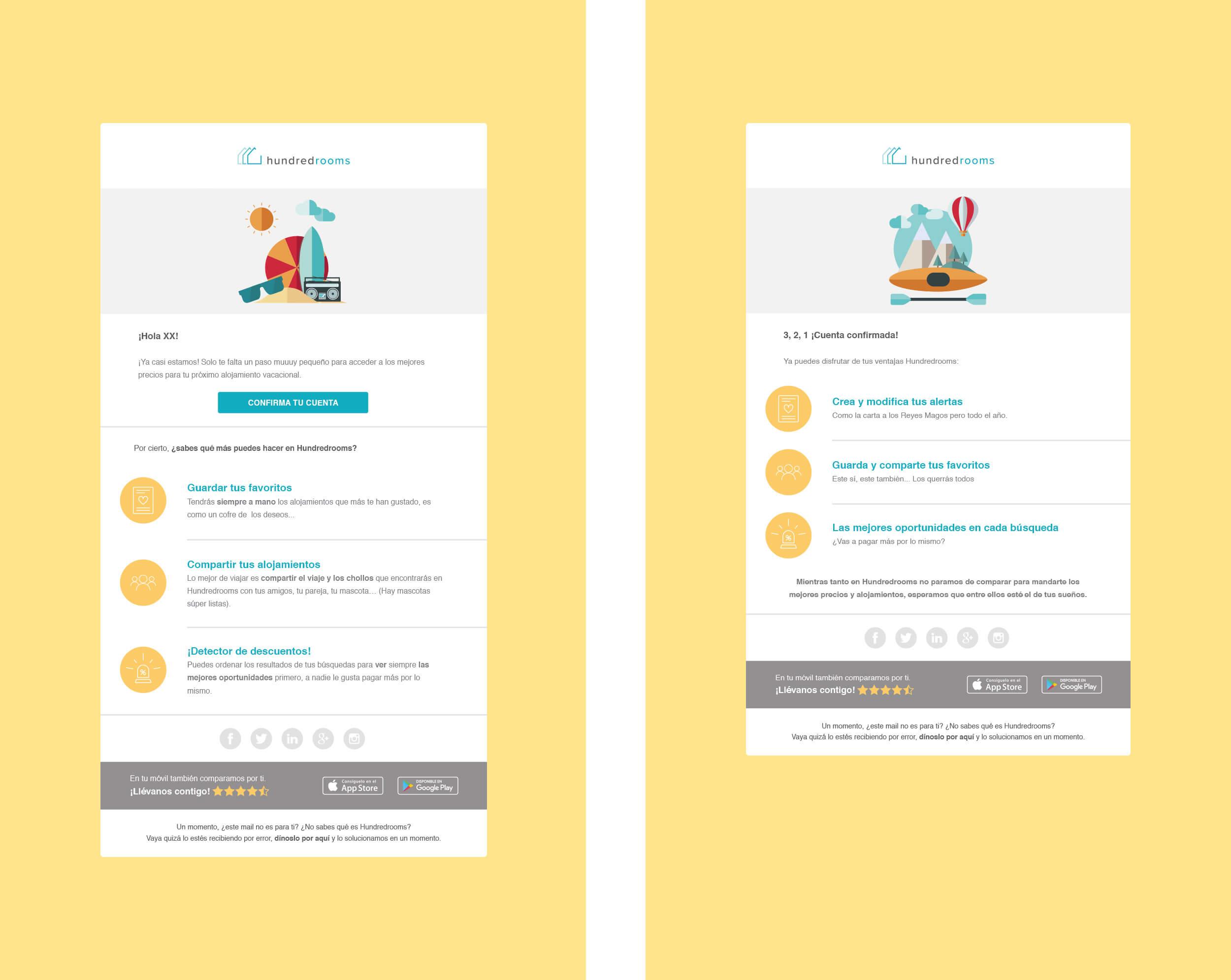 Muestra de algunas de las newsletters diseñadas y programadas para HundredRooms